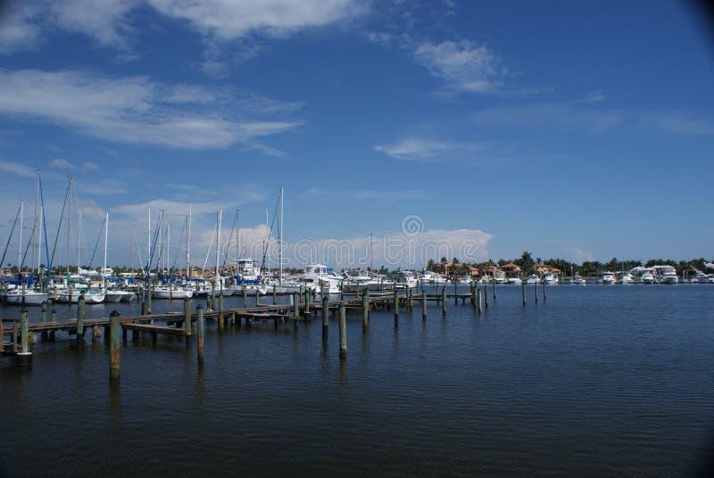 Puerto deportivo de desatención en la isla de Marco, la Florida fotografía de archivo libre de regalías