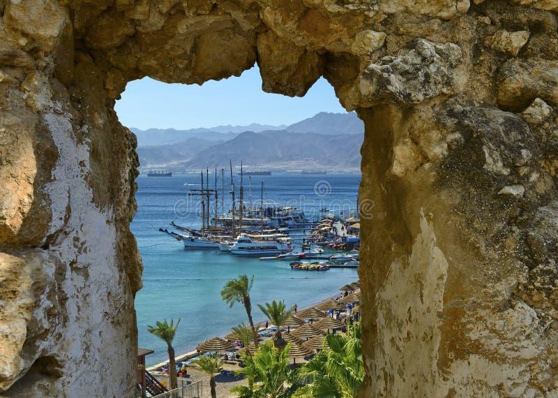 Puerto deportivo de Eilat en el día soleado imagen de archivo