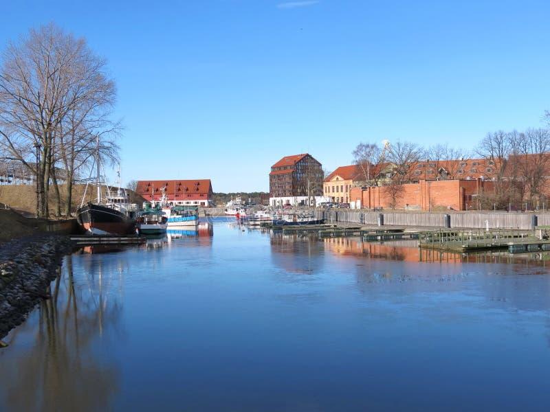 Puerto deportivo de la ciudad de Klaipeda, Lithuiania foto de archivo libre de regalías