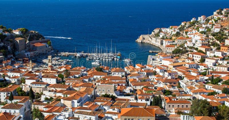 Puerto deportivo de la isla del Hydra, Grecia Viajes fotografía de archivo libre de regalías