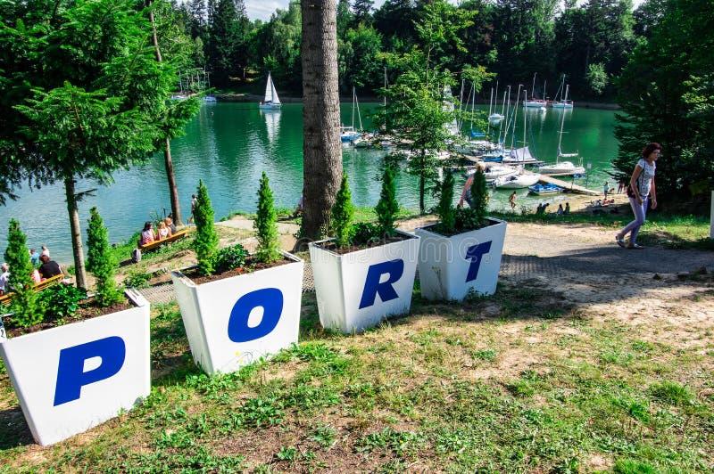 Puerto deportivo de Polanczyk imágenes de archivo libres de regalías