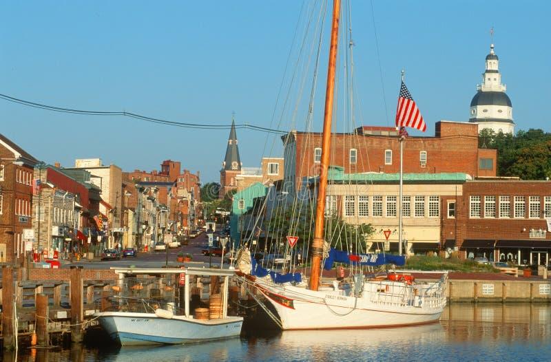 Puerto deportivo en Annapolis, MD fotografía de archivo libre de regalías