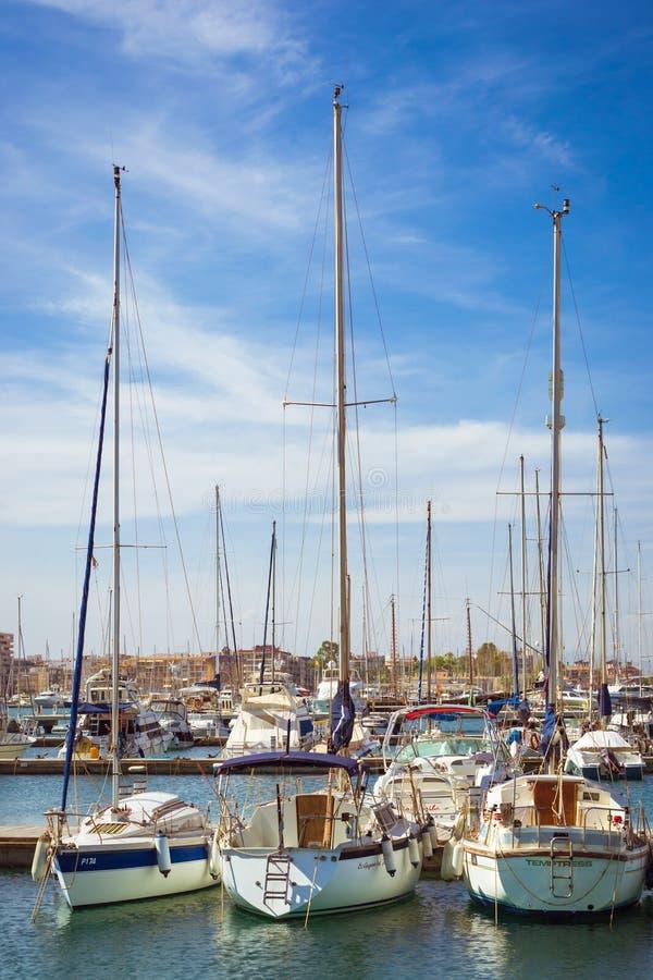 Puerto deportivo Marina Salinas. Yachts and boats in Marina royalty free stock photo