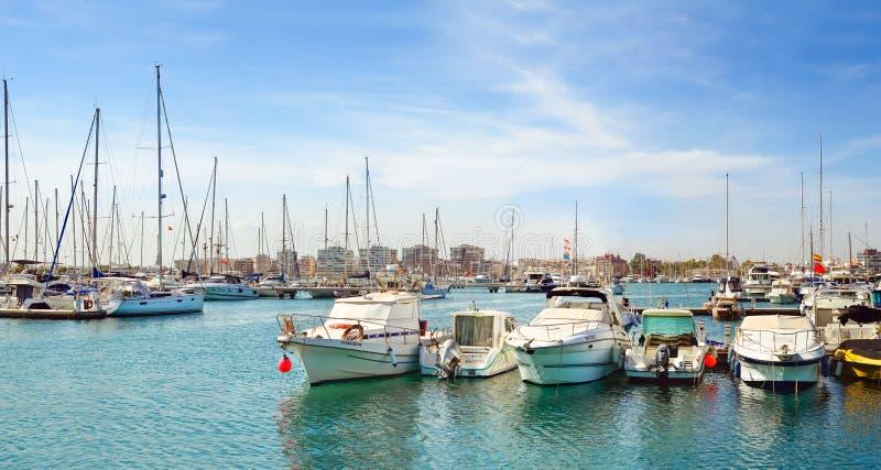 Puerto deportivo Marina Salinas. Yachts and boats in Marina royalty free stock image