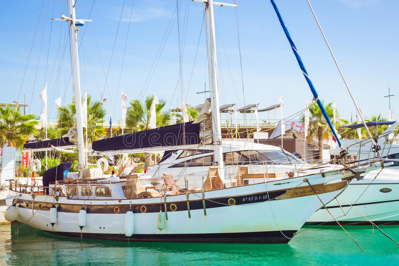 Puerto deportivo Marina Salinas. Yachts and boats in Marina stock images