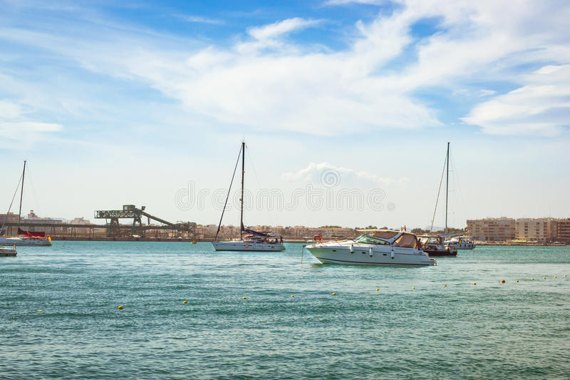 Puerto deportivo Marina Salinas. Yachts and boats in Marina stock photos