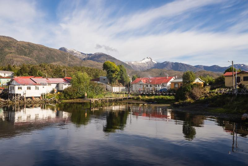 Puerto Eden in Chileense fiords, Patagonië royalty-vrije stock fotografie
