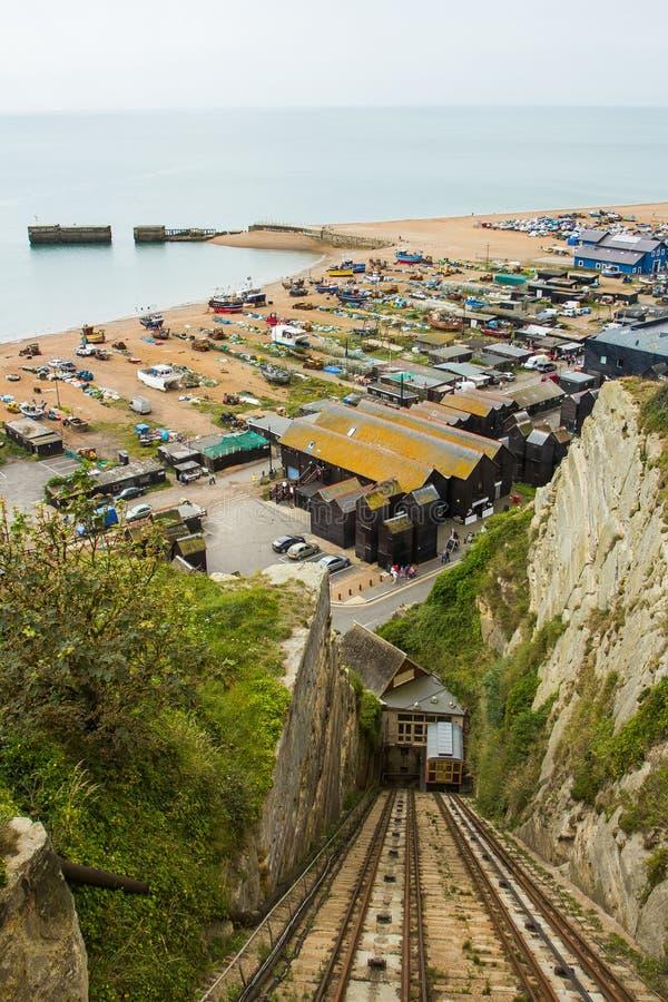 Puerto en Hastings, Reino Unido fotos de archivo