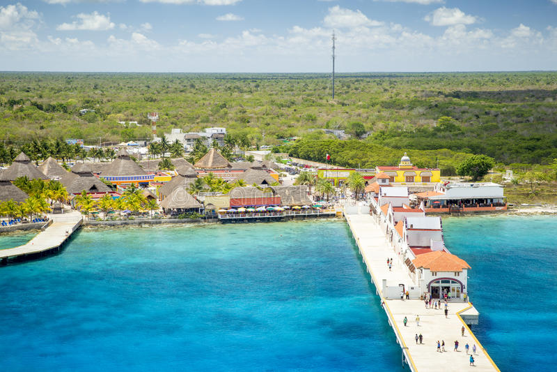 Puerto en maya de Puerta - Cozumel, México fotografía de archivo