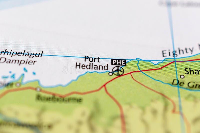 Puerto Hedland en mapa imagenes de archivo