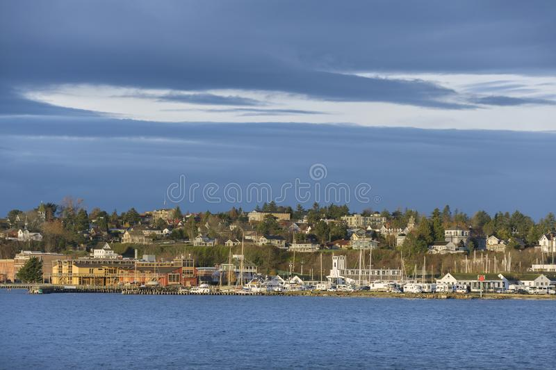 Puerto histórico Townsend, Washington Waterfront en la salida del sol fotos de archivo libres de regalías