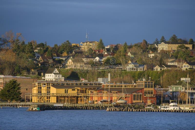 Puerto histórico Townsend, Washington Waterfront en la salida del sol fotografía de archivo