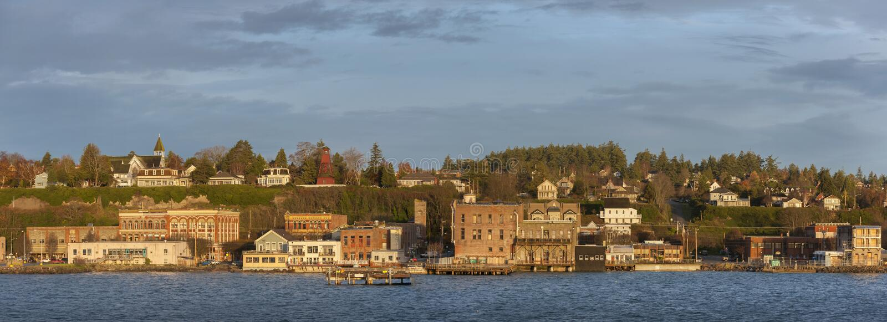 Puerto histórico Townsend, Washington Waterfront en la salida del sol foto de archivo libre de regalías
