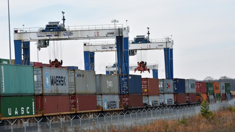 Puerto interior de Carolina Ports Authority del sur imágenes de archivo libres de regalías