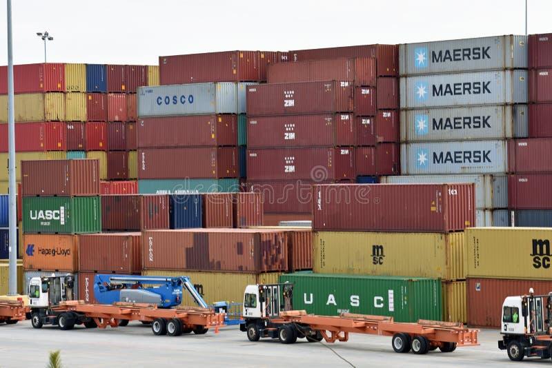 Puerto interior de Carolina Ports Authority del sur fotografía de archivo