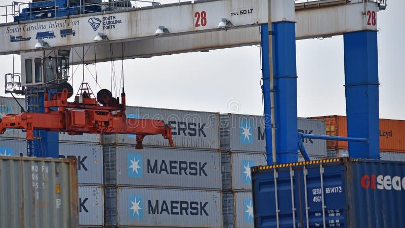 Puerto interior de Carolina Ports Authority del sur imagen de archivo libre de regalías