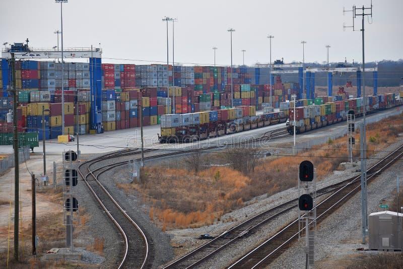 Puerto interior de Carolina Ports Authority del sur fotos de archivo