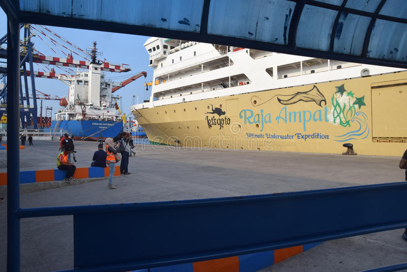Puerto Jakarta de Tanjung Priok foto de archivo libre de regalías