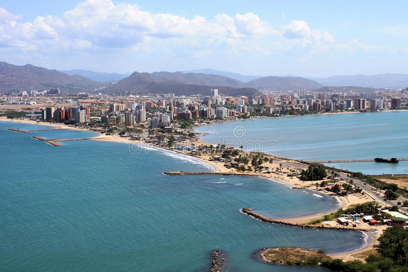 Puerto la Cruz from hill nearby. Puerto la Cruz from the top of a hill nearby Venezuela stock photography
