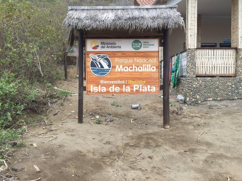 Puerto Lopez, Ισημερινός, 9-7-2019: Το σημάδι εθνικό park isla de Λα plata στοκ εικόνες