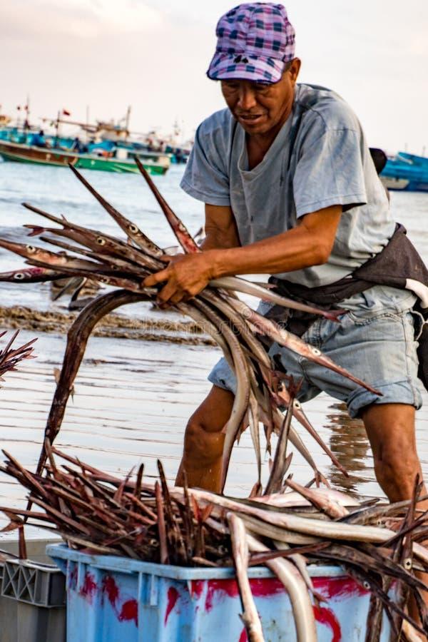 Puerto Lopez/Augusti 19, 2016 - fiskaren sorterar hans lås av pi royaltyfri fotografi