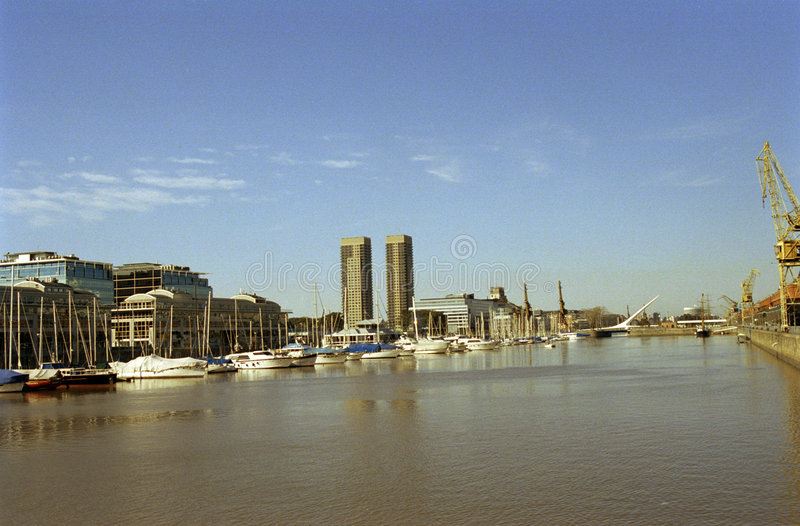 Puerto Madero. New district, neighborhood in Buenos Aires Argentina. River and dock royalty free stock photography