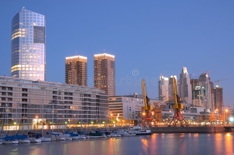 Puerto Madero. Evening panorama of Puerto Madero district, Buenos Aires, Argentina. Long Exposure stock image