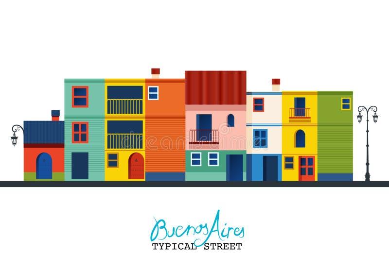 Puerto Madero bij Schemer Typische huizen van `-de buurt van La Boca ` royalty-vrije illustratie