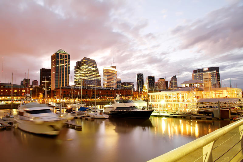 Puerto Madero, Buenos Aires. Nightly panorama of the Puerto Madero in Buenos Aires, Argentina stock photography
