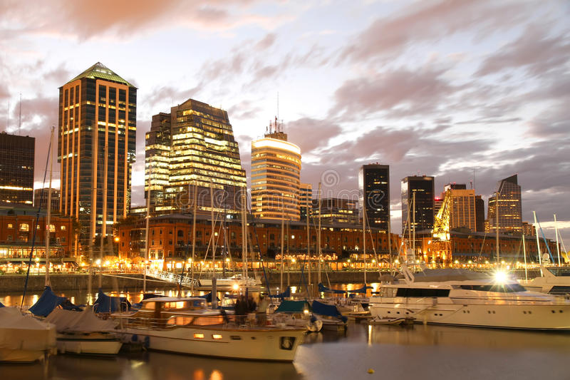Puerto Madero, Buenos Aires. Nightly panorama of the Puerto Madero in Buenos Aires, Argentina stock image