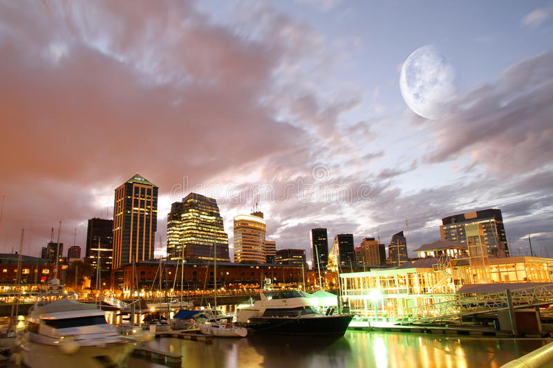 Puerto Madero, Buenos Aires. Nightly panorama of the Puerto Madero in Buenos Aires, Argentina stock images