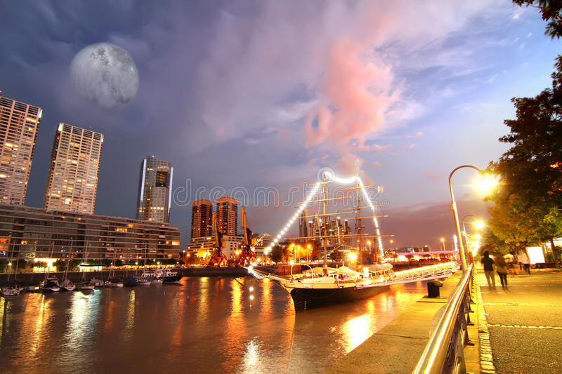 Puerto Madero in Buenos Aires. Night shot of the Puerto Madero in Buenos Aires, Argentina, South america royalty free stock image