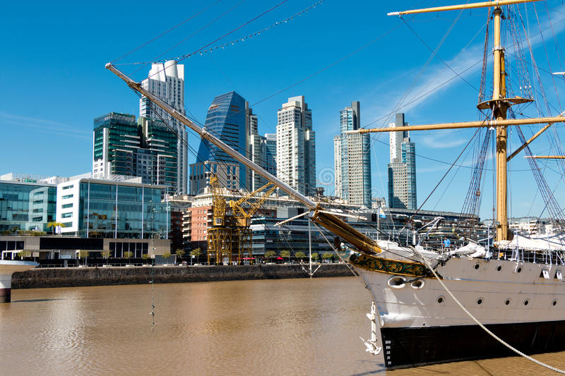 Puerto Madero, Buenos Aires Argentinien. Harbor Puerto Madero Buenos Aires Argentine, skyline and ships royalty free stock photo
