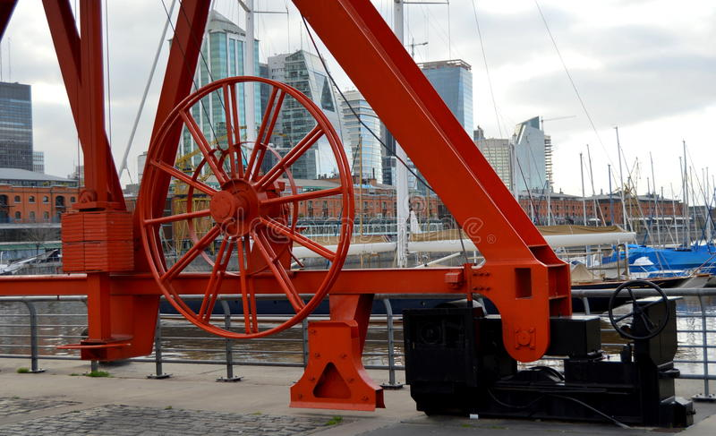 Puerto Madero, Buenos Aires. First set up of a crane in Puerto Madero, Buenos Aires royalty free stock image