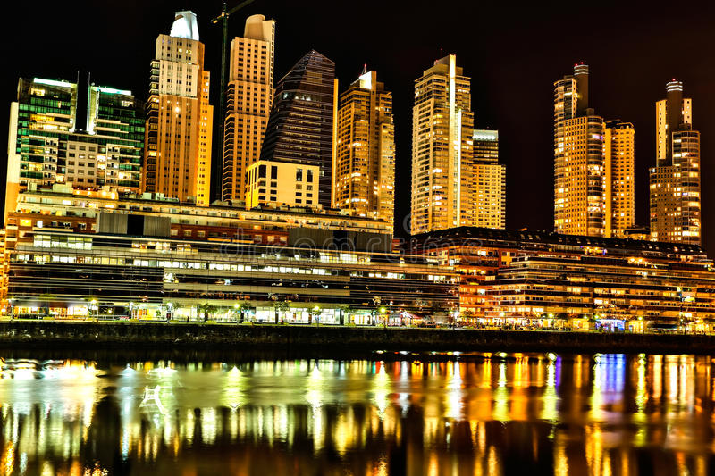 Puerto Madero in Buenos Aires at night. The famous neighborhood of Puerto Madero in Buenos Aires, Argentina at night royalty free stock photography