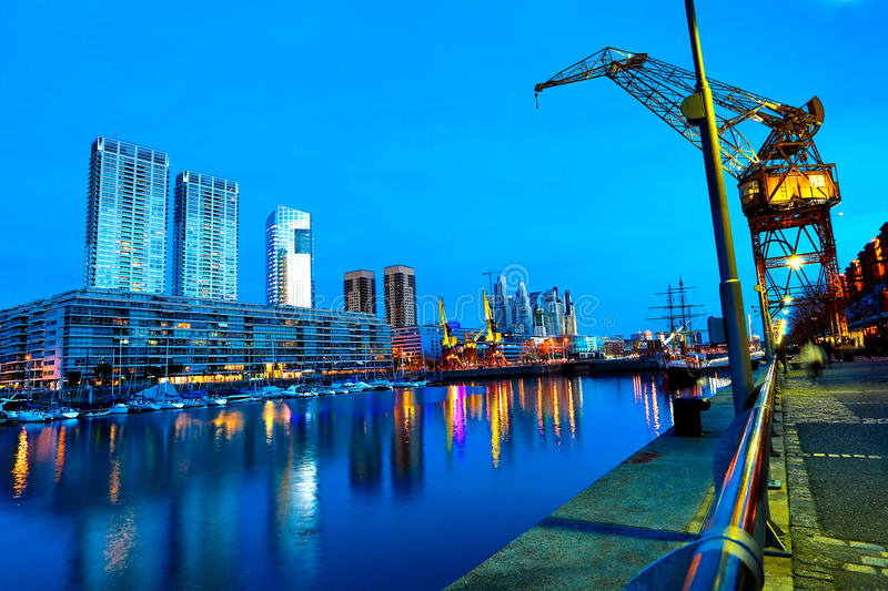 Puerto Madero in Buenos Aires at night. The famous neighborhood of Puerto Madero in Buenos Aires, Argentina at night stock image