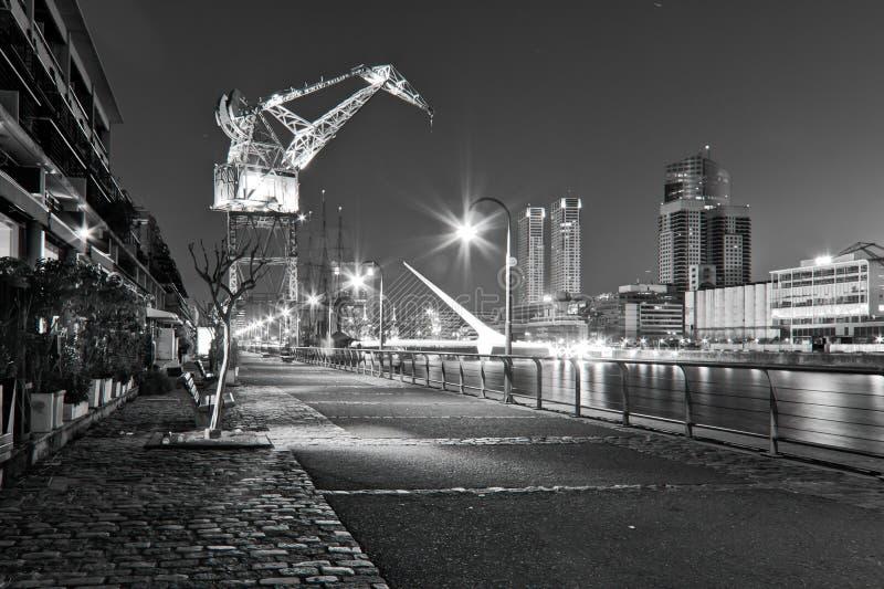 Puerto Madero. Black white crane royalty free stock photos