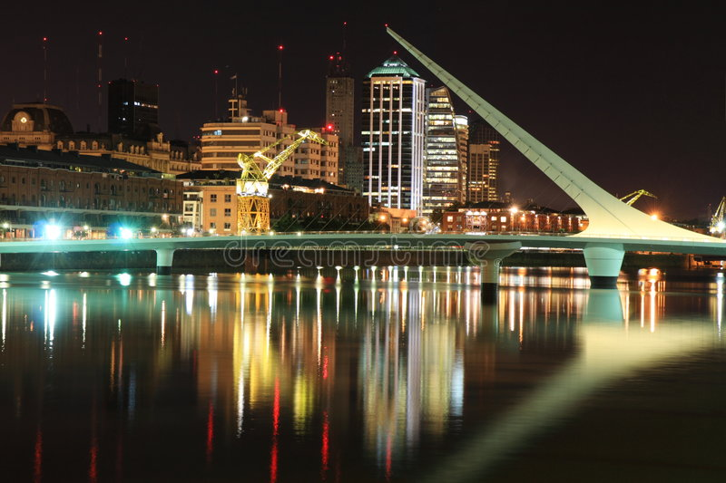 Puerto Madero at night stock photo