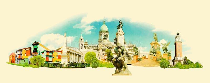 Puerto Madero på skymning royaltyfri illustrationer