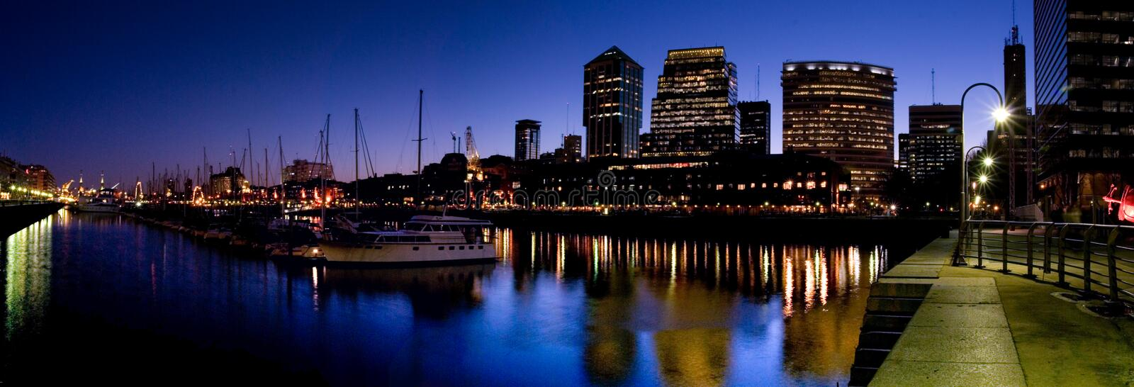 Puerto Madero. Panorama at dusk in Buenos Aires stock image