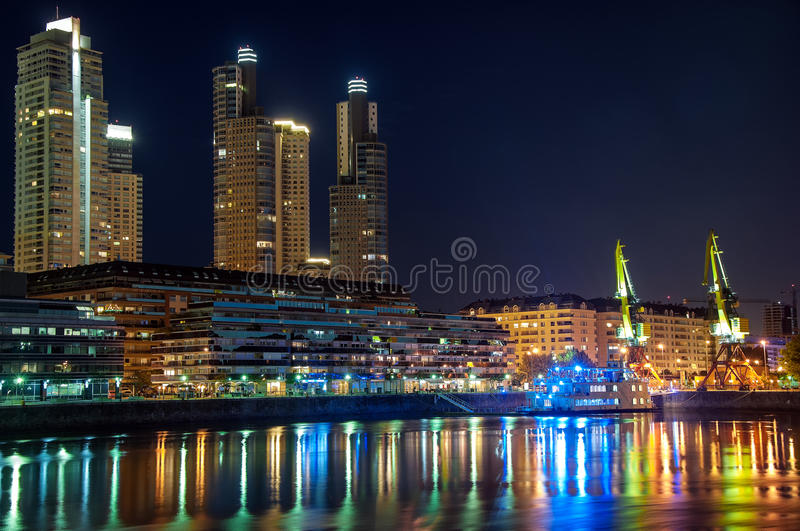 Puerto Madero Waterfront in Buenos Aires. Beautiful upscale Puerto Madero and skyscrapers at night in Buenos Aires stock image