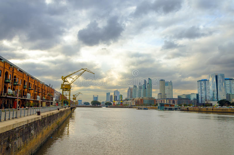 Puerto Madero Wide Angle. A wide angle view of the Puerto Madero neighborhood in Buenos Aires, Argentina royalty free stock photos