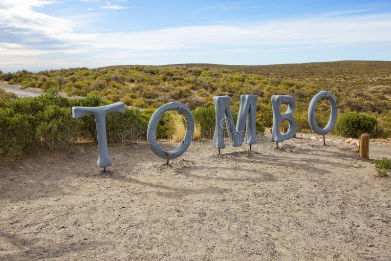 Puerto Madryn Argentinië Snelweg Inschrijving van Punta Tombo royalty-vrije stock foto's