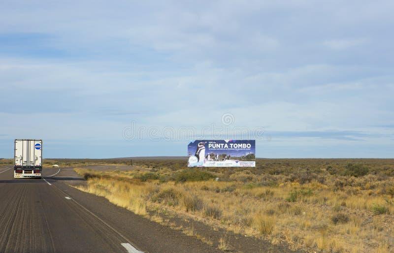 Puerto Madryn Argentinië snelweg Punta tombo Billboard royalty-vrije stock afbeeldingen
