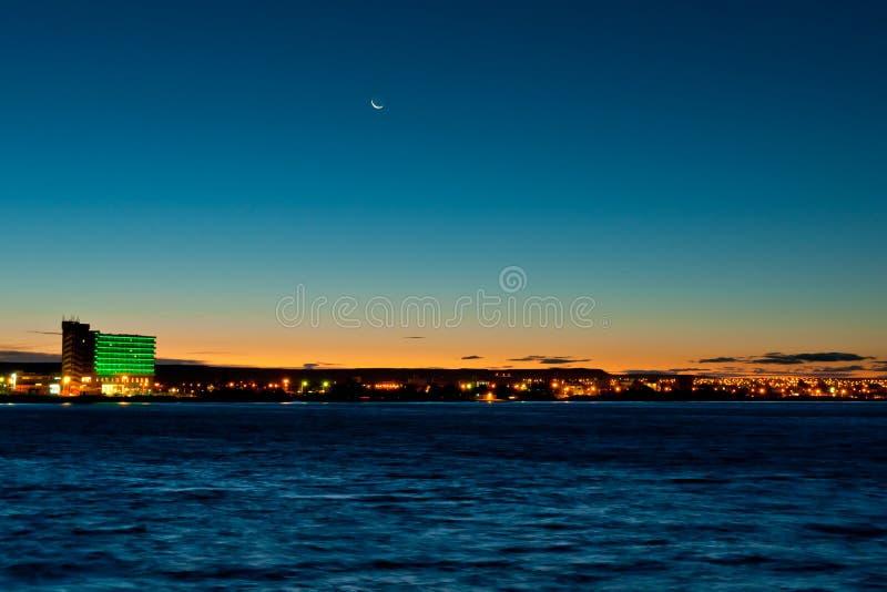 Puerto Madryn no por do sol foto de stock royalty free