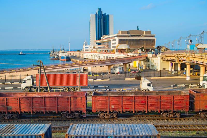 Puerto marítimo de Odessa, Ucrania fotos de archivo