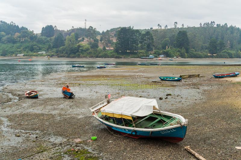 PUERTO MONTT, CHILE - MARCH 1, 2015: Fishing boats in a harbor of Puerto Montt, Chi stock photo