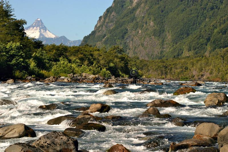 Puerto Montt, Chile. White water Rafting on the Petrohué River stock photos