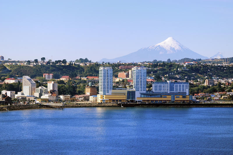 Puerto Montt city. Buildings along the waterfront of Puerto Montt stock photography