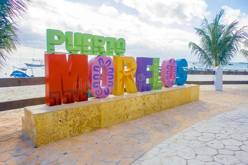 Puerto Morelos, Mexico - January 10, 2018: Outdoor view of a huge letters of puerto morelos in the park in Puerto. Morelos, Yucatan Peninsula, Mexico, south of stock images
